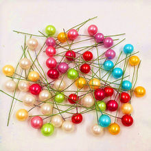 10pcs / lot Mini Plastic Fake Small Berries Artificial Flower Fruit Stamens Cherry Pearl Wedding DIY Gift Box Decorated Wreaths