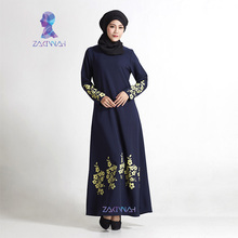 New flower print plus size turkish women abaya dress Islamic clothing for women