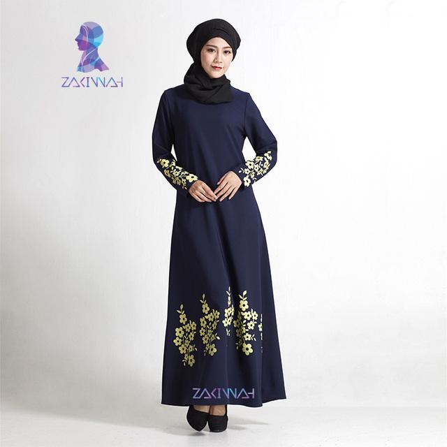 Nueva impresión de la flor más tamaño las mujeres abaya musulmán ropa Islámica del vestido mujeres de la manera vestido traje adulto