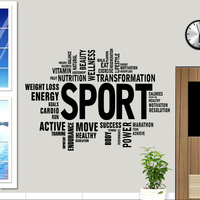 DCTAL Gym Name Sticker Fitness Words Crossfit Decal Body building Posters Vinyl Wall Decals Parede Decor Mural Gym Sticker