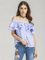 Europe New Women Blouses Fashion 2017 Summer Blusas Single Breasted Ruffle Plaid Shirt JRN8812
