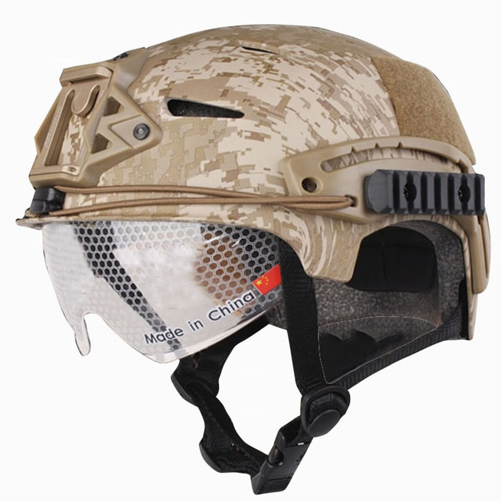 EM8981E Tactical Helmet With Protective Goggle Glasses Universal for CS War Game Camo Adjustable Airsoft Helmets цены