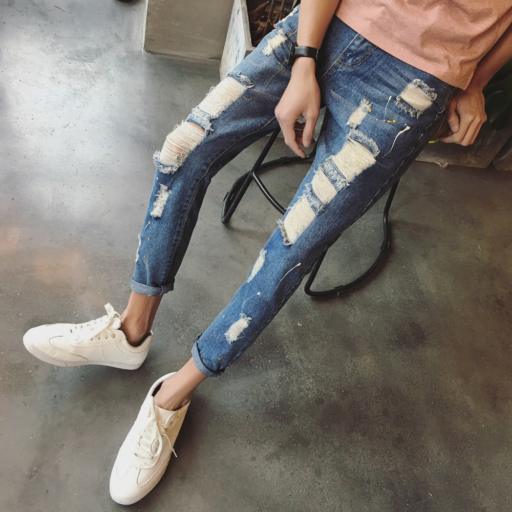 2017 new fashion brand new autumn streetwear ankle length pants mens light blue jeans brand. Black Bedroom Furniture Sets. Home Design Ideas