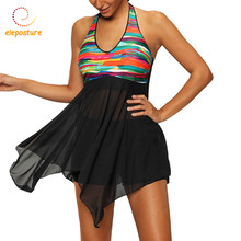 Swimwear Dress Women Tankini Swimsuits Skirt Beachwear Swimsuit With Shorts Bathing Suits 2017 Two Piece Tankini Plus Size S-5XL