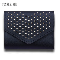 TENGLAISHI Fashion Small Female Purse Short Purse Lady Letter Snap Fastener Zipper Short Clutch Wallet