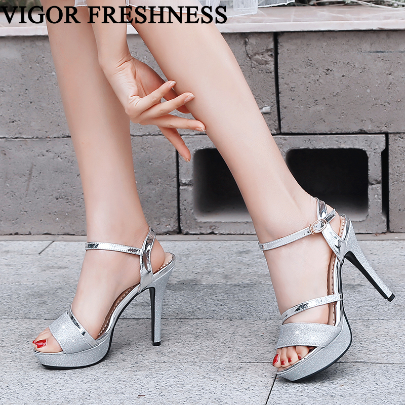 VIGOR FRESHNESS Summer Shoes Woman Sandals 13CM Heels Show Shoes Brand Ladies Stiletto Bling Wedding Women Dress Sandals MY323