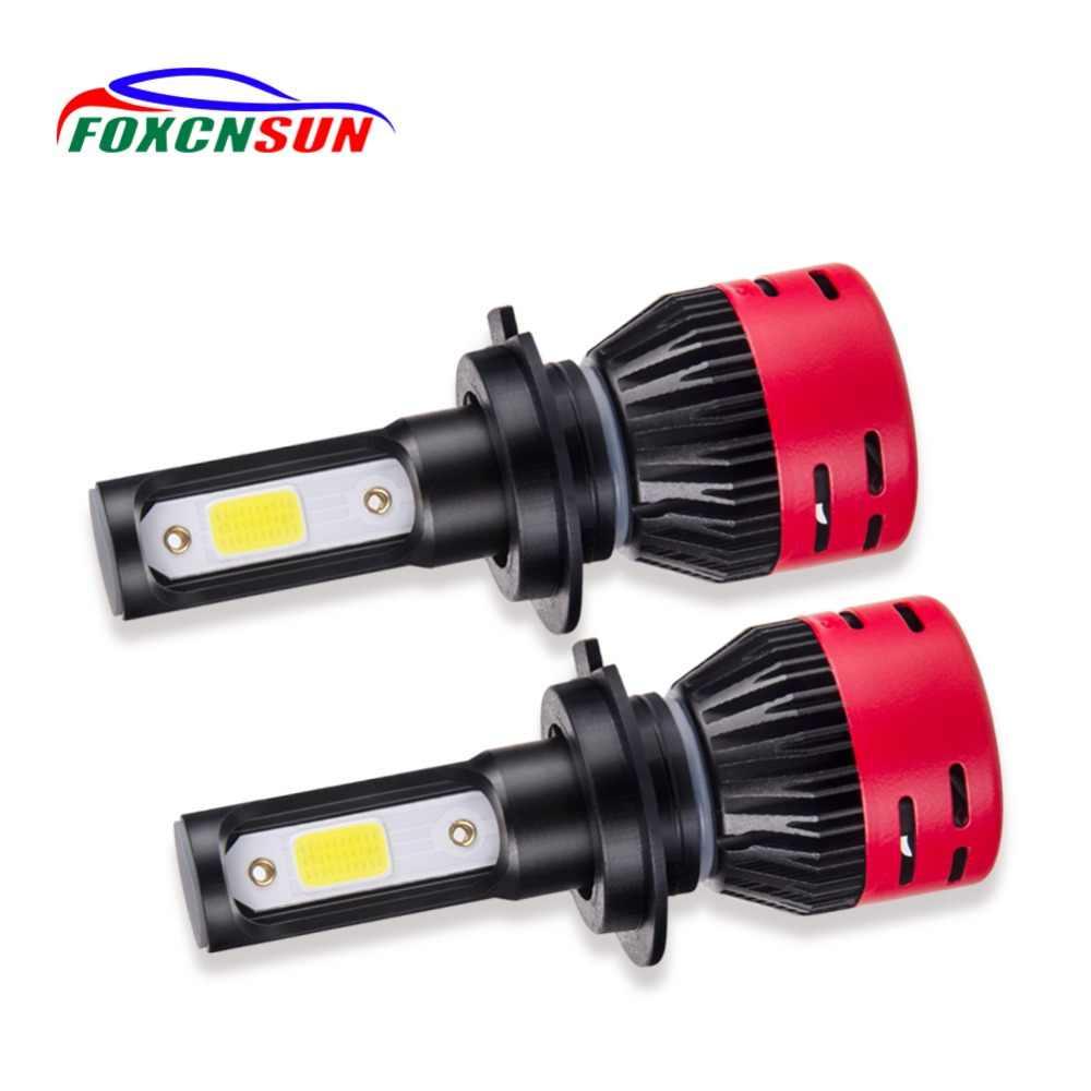 Foxcnsun H4 H7 H11 H1 H3 9005 9006 HB3 HB4 светодиодный лампы для передних фар автомобиля лампочки (Подол короче спереди и длиннее сзади) ЛУЧ бескорпусный светодиод 72 Вт 8000lm авто фары 12 v 24 v
