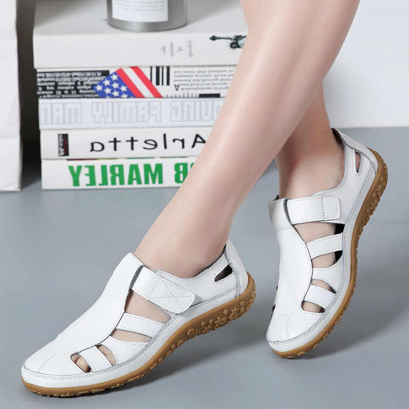 Fashionable Summer Solid Color Women Soft Leather Shoes Comfortable Anti-Slip Casual Slip On Flats Mother Shoes