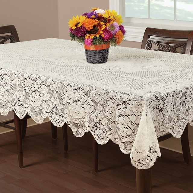 Free Shipping Floral Elegant Lace Tablecloths Round Lace Table Cover Ivory  70 Inch Round Ro 60x84 Inch 60x102 Or 60x84