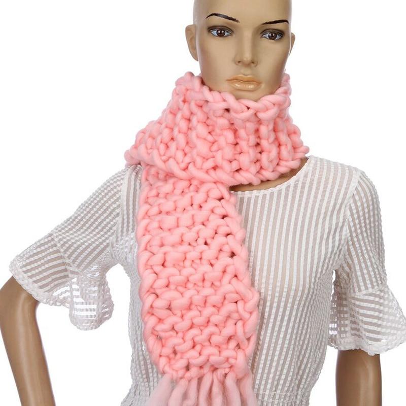 Ny koreansk version mode stickning ull scarf kvinna shag linje varma vinter halsdukar hand stickning skräddarsydda 130 * 15 cm