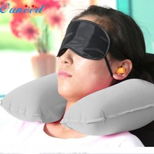 Home Deco High Qaulity U neck pillow Flight Car Inflatable pillow Rest Air Cushion+ Eye Mask + Earbuds Best Sell(China)