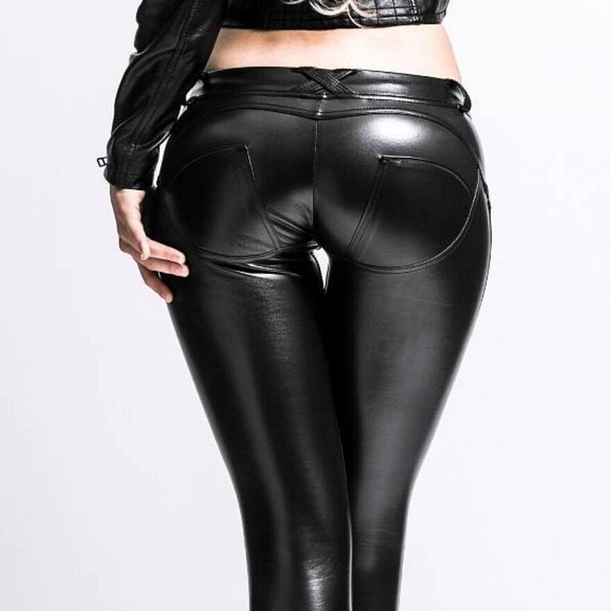 Mid Waist Skinny Eco leather Leggings Women Sexy Hip Push