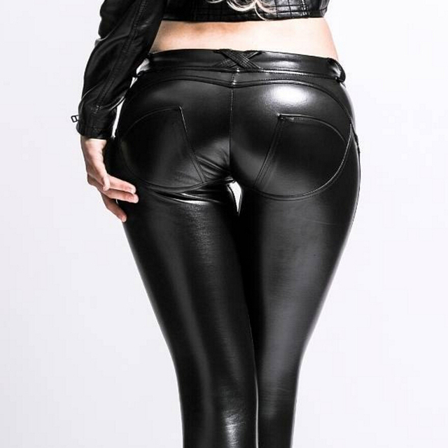 Mid Waist Skinny Eco Leather Leggings Women Sexy Hip Push