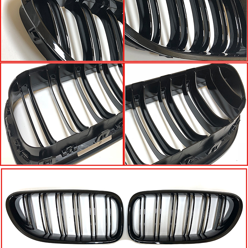 F06 Grill Auto Car Front Bumper Grille For BMW 6 Series 640i 650i Double 2 Line Slats ABS Gloss Black M6 Kidney Grille 2012 2017 in Racing Grills from Automobiles Motorcycles