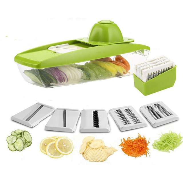 Multifunctional Mandoline Slicer Vegetable Cutter Grater With 5  Interchangeable Stainless Steel Blades Kitchen Gadgets