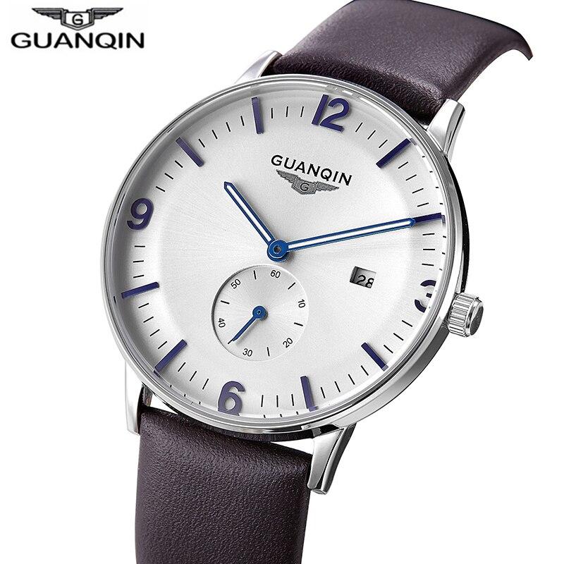 GUANQIN Mens Watch Top Brand Luxury Watch Men Waterproof Luminous Ultra Thin Quartz Watch Leather Wristwatch Relogio Masculino