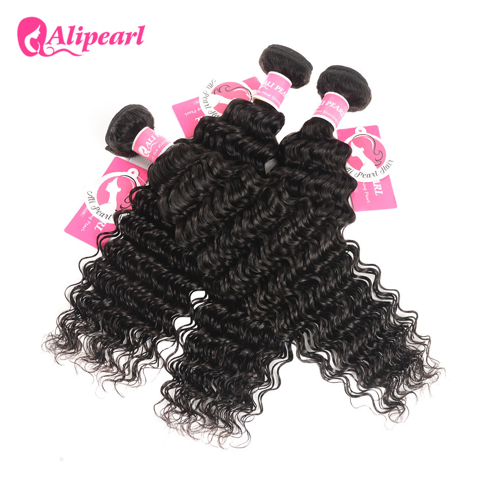 HTB1OsVeXKSSBuNjy0Flq6zBpVXaF AliPearl Hair 3 Bundles Brazilian Deep Wave 100% Human Hair Bundles With Frontal Natural Black Remy Hair Extension Free Shipping
