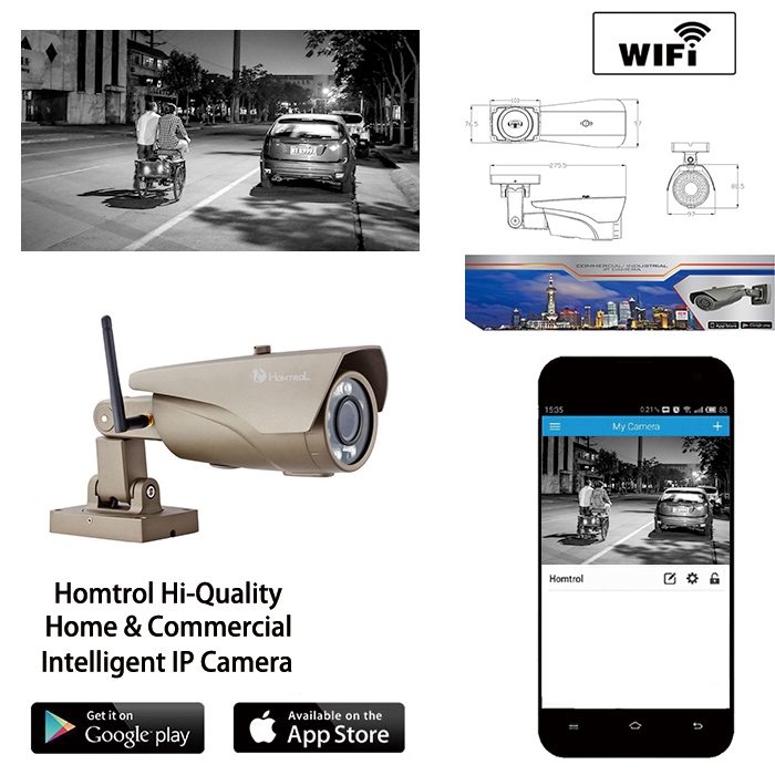Wifi Home and Outdoor Security Surveillance Bullet IP Camera 42 Hi-powered IR LED 1080P Focus Lens and Free APP and Software