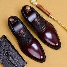 Zapatos de cuero genuino de vaca Brogue de boda de negocios para hombres zapatos planos casuales zapatos Oxford hechos a mano Vintage para hombres negro Borgoña 2019