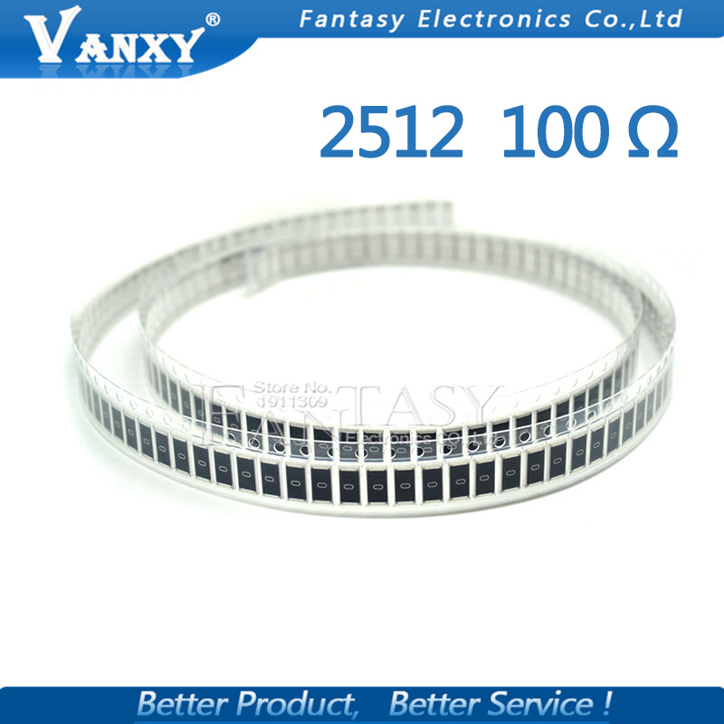 50PCS 2512 SMD Resistor 5% 100 Ohm 1W 100R 101