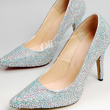2015 10cm Heel Wedding Dress Shoes Pointed Toe Rhinestone Bridal Dress Shoes Glitter Silver Lady Nightclub Shoes Spring Pumps