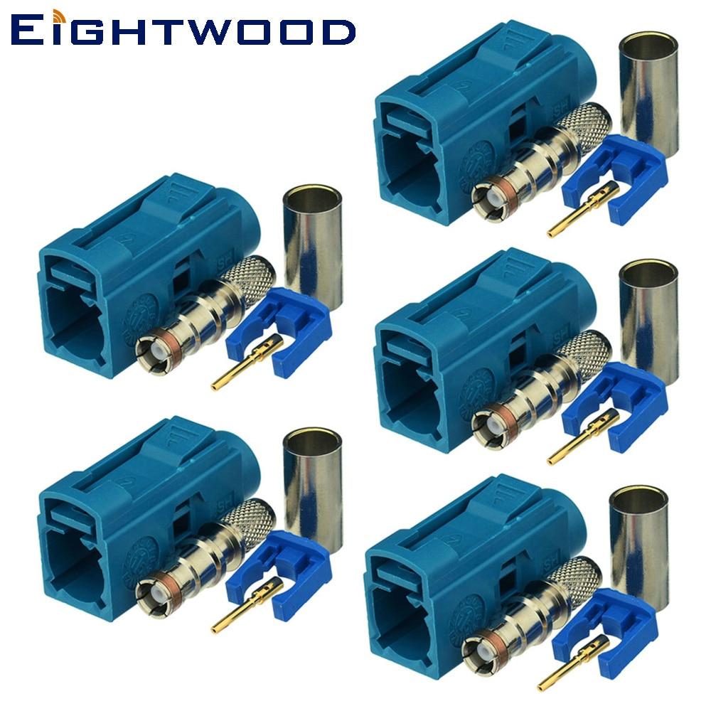 Conector de antena de Radio GSM DAB GPS + de eitwood, 5 uds., conector hembra de código Z SMB Fakra, resistente al agua azul/5021 para Cable RG58 LMR195