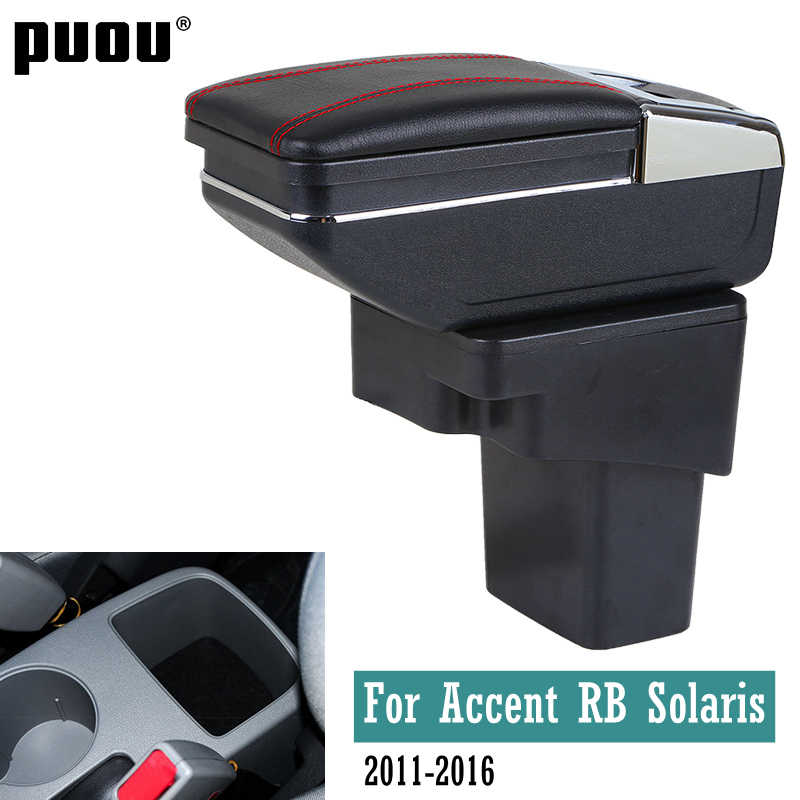 Center Centre Console Storage Box For Hyundai Accent RB Solaris 2011-2016 Double layer ashtray USB Charging armrest box