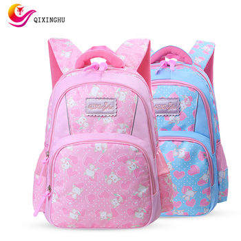 QIXINGHU Brand School Bag Small Fresh Printed Schoolbag Girl Bookbag Primary School Backpack Kid Bookbag Middle Student Bag girl printed medium paper bag