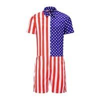 2019 Summer Fashion Men's Cotton And Linen 2 Piece Men's American Flag Striped Button Short Sleeve Top Shirt Siamese Pants