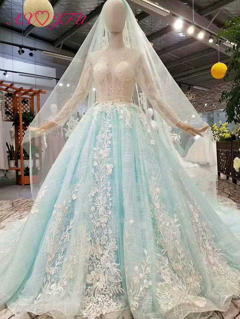 AXJFU nouvelle princesse fleur perles bleu dentelle robe de mariée cristal blanc fleur robe de mariée 100% vraies photos 015788