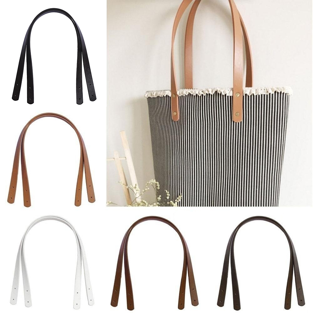 2 Pcs Bag Belt Detachable PU Leather Obag Handles Shoulder Bag Strap DIY Solid Color Harajuku Replacement Bag Accessories 60cm