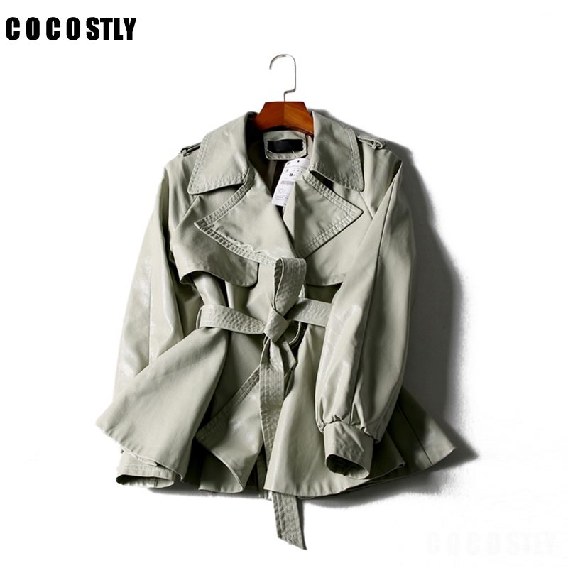 Runway Designer   Leather   Jacket Women Turn down collar short Coat 2019 Long Sleeve Casual with Belt coat