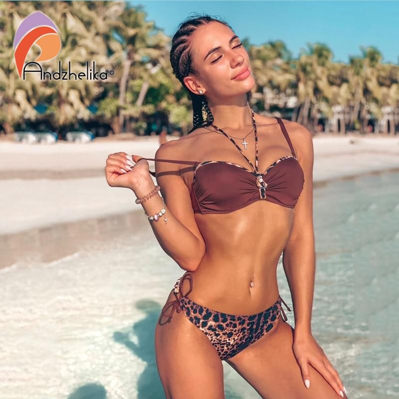 Andzhelika Sexy Leopard Bikini 2019 Summer Women Swimsuit Push Up Bikini Set Swimwear Beach Bathing Suit Monokini