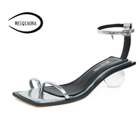 WEIQIAONA sexy ankle strap woman Fashion Design crystal shoes ball with high heels transparent ladies high heel Wedding Sandals