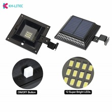 KHLITEC Solar Gutter Lights 12 LED Powered Waterproof Security Lamp 6000K White for Outdoor Garden Fence Outside Garage