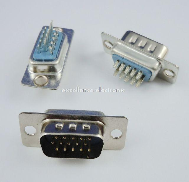 100 Pcs D-SUB 15 Pin Male Solder Type Plug Adapter VGA Connector Serial ports DB15M 12x serial port connector rs232 dr9 9 pin adapter male