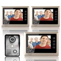 7 дюймовый видео дверь домофон Системы комплект 1 Камера 3 монитор Ночное видение 3 шт 10 m кабель