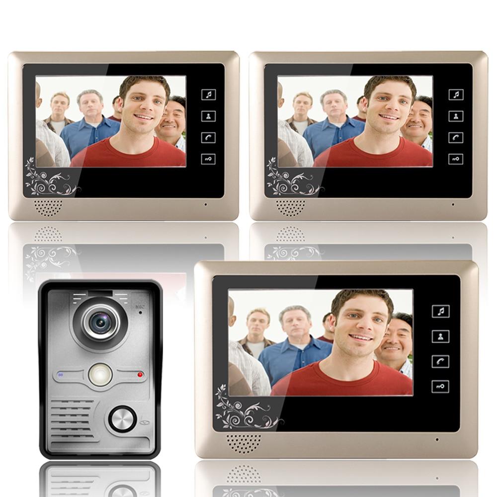 7 Inch Video Door Phone Doorbell Intercom System  Kit 1-Camera 3-Monitor Night Vision 3PCS 10m Cable
