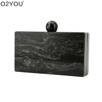 Pearl Black Marble Big Acrylic Clasp Ball Women Brand New PVC Plastic Acrylic Box Clutch Purse Handbag Wallet Beach Evening Bags