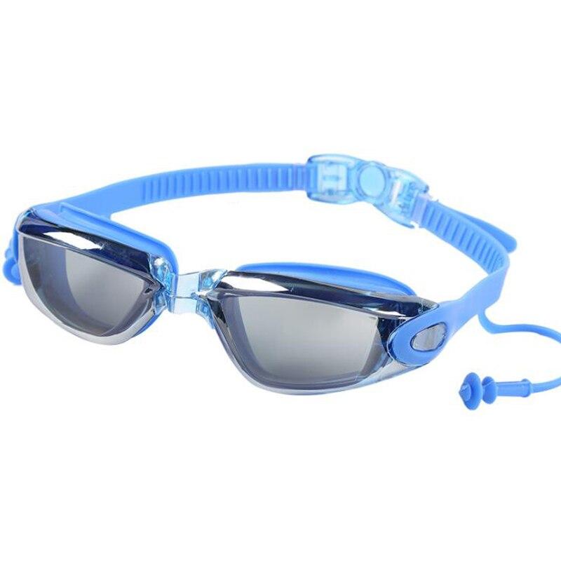 HD Waterproof Anti Fog Plating Swimming Goggles Silicone Earplugs Strap Swim Pool Glasses Eyewear Gafas Natacion for Men Women in Swimming Eyewear from Sports Entertainment