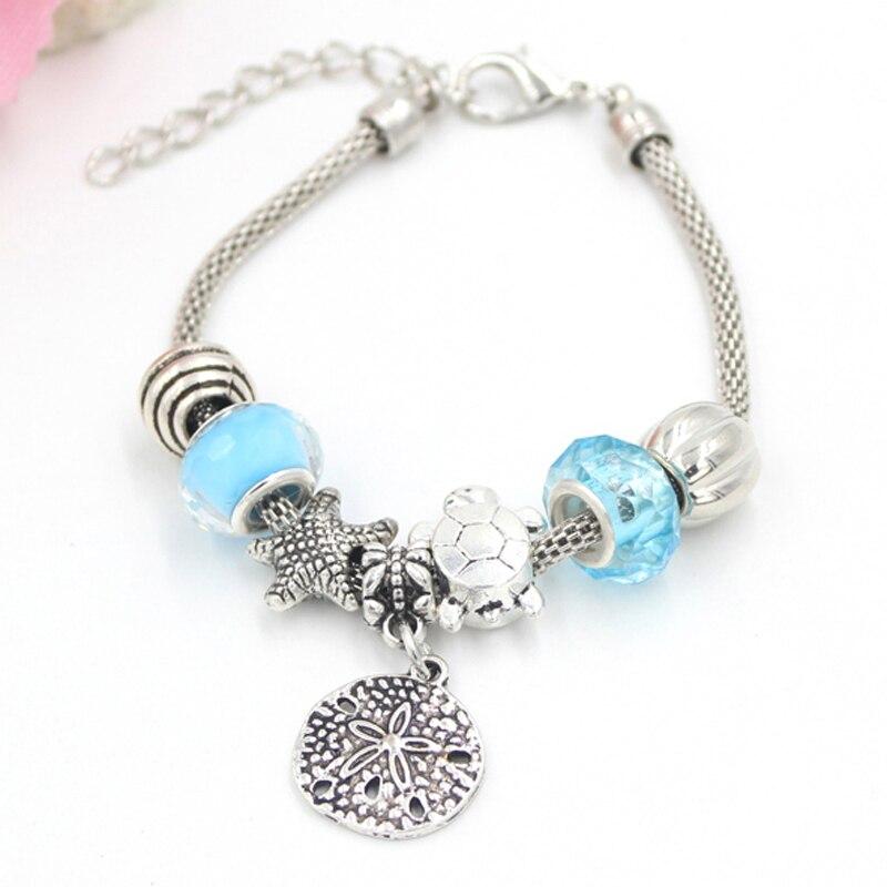 173bffe47b4 10PCS/Lot Wholesale Charm Bracelets European Bead Style Ocean Turtle  Starfish Bead Sanddollar Charm Bracelets for Women Pulsera