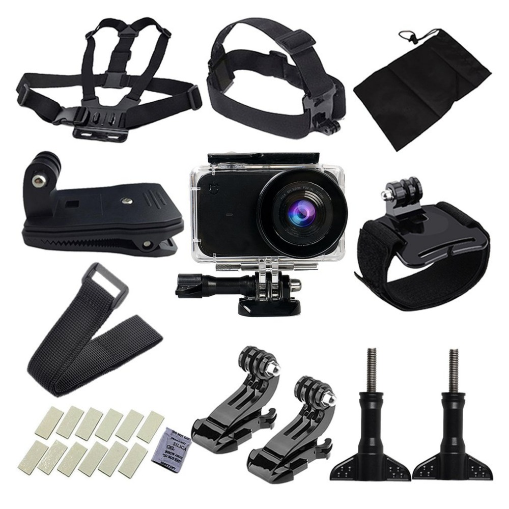Poratable Kits for Xiaomi Yi Camera Accessories Set Mount Holder Wateraproof Protective Case Chest Belt For Xiaomi Camera