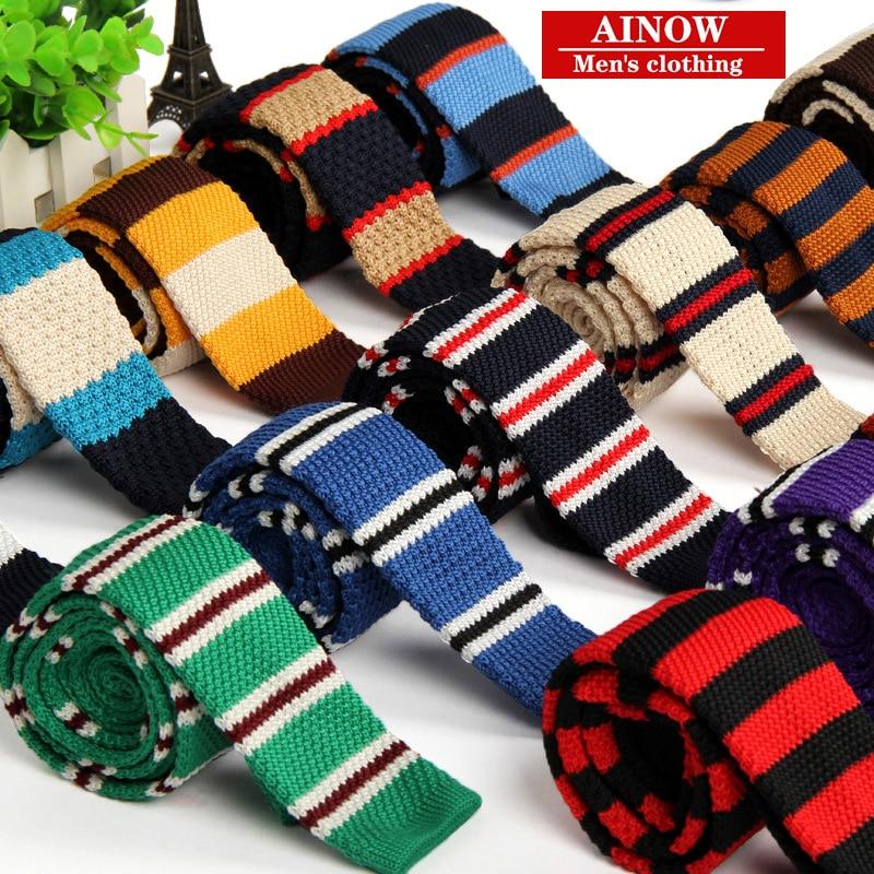 High Quality New Fashion Korean Designer Mens Knitted Tie Striped Narrow Slim 5cm For Wedding Wholesale Fedex 120pcs/lot