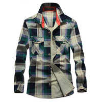 Brand Shirt Men Casual Shirts 100% Cotton Plaid Shirt Men Military Chemise Homme Camisa Camisa Masculina Shirts Plus Size M-4XL