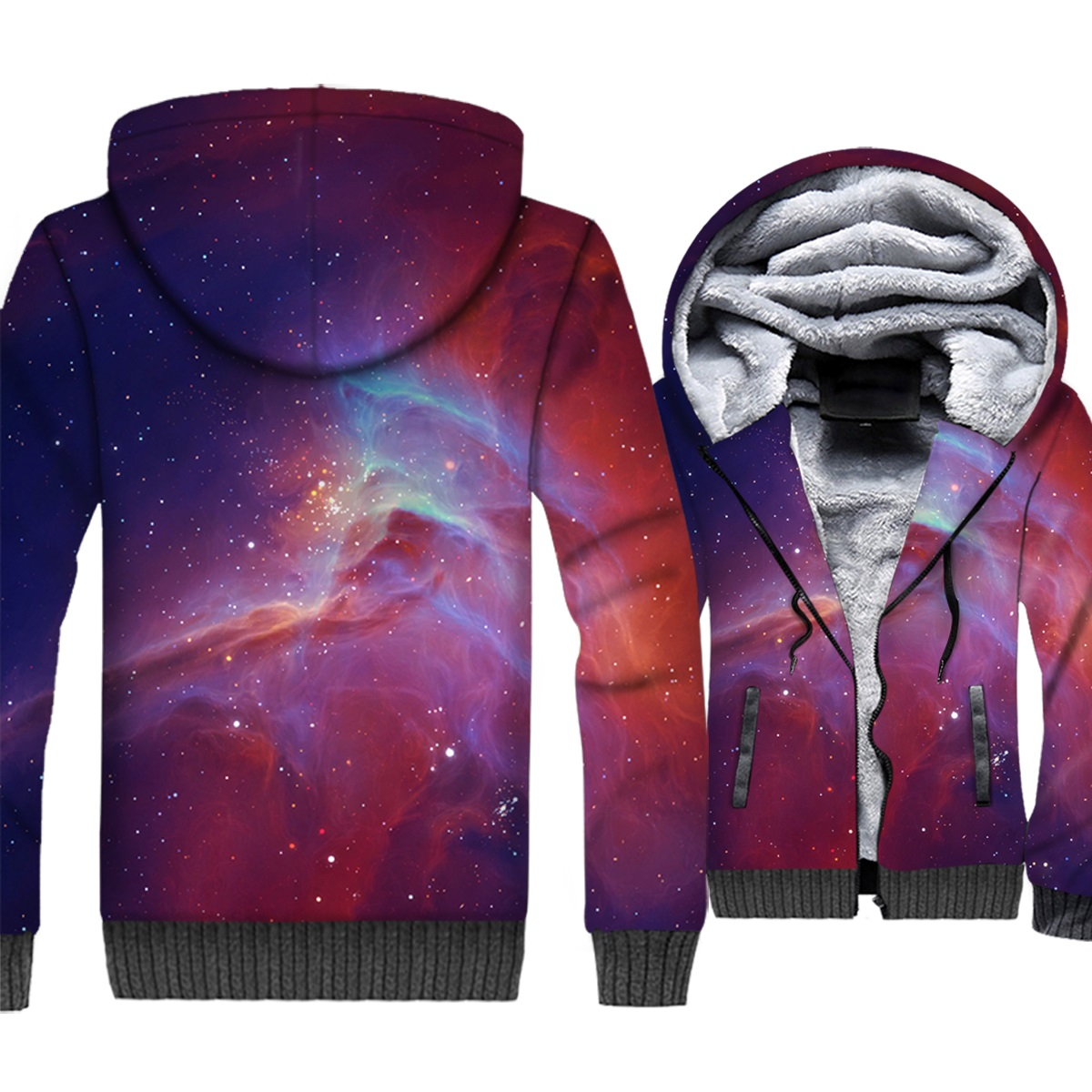 Colorful Nebula Jacket Men Space Galaxy 3D Hoodie Cap Sweatshirt 2018 New Winter Fleece Zipper Universe Stars Nightfall Coat 5XL