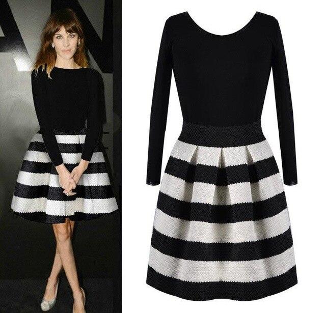 S-XXL Plus Size Audrey Hepburn Women Elegant Dress Black White Patchwork  Strip Long Sleeve Dress Keen Lenght Spring Dress D142 747bef8f8be0