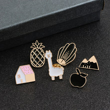 Cute Girl And Boy Brooch Jackets Enamel Badges Alpaca Pink Hut House Volcano Twin Peak Apple Pineapple Black Flower Pins Jewelry(China)