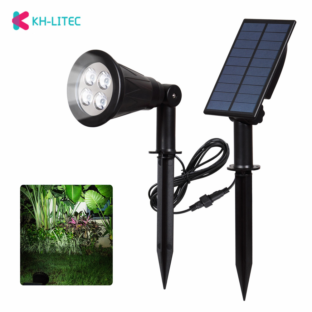 KHLITEC 4 LED Solar Spotlights Waterproof Outdoor Garden Wall Lights LED Solar Powered Garden Lights Solar Light Landscape Lamp