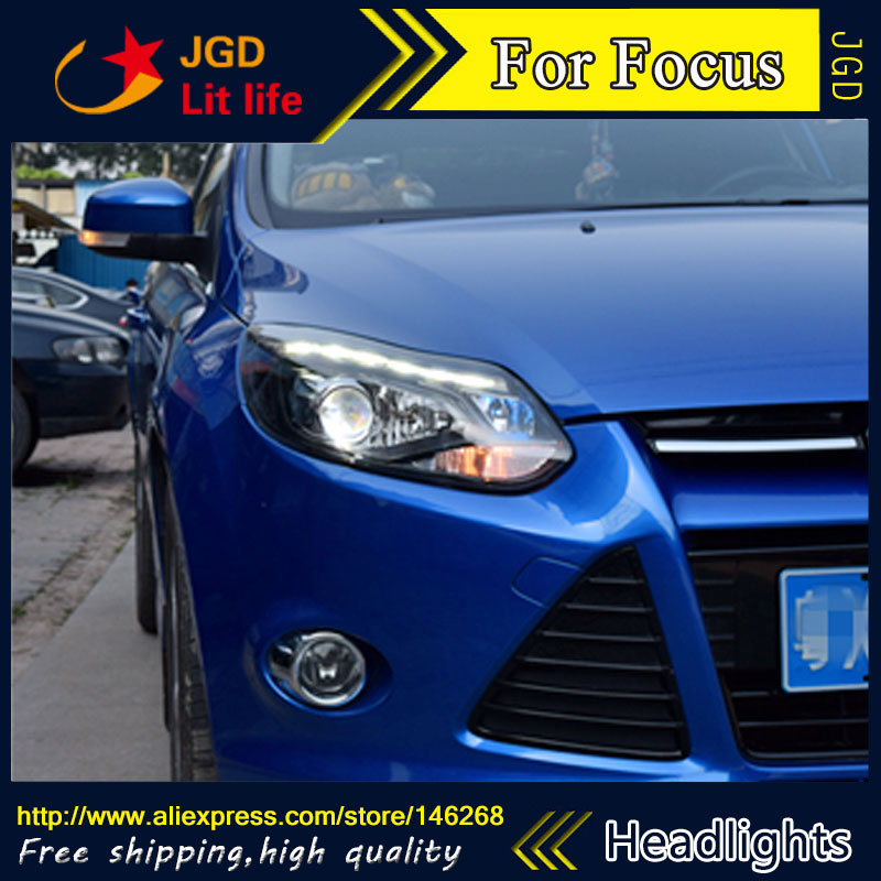 Free shipping ! Car styling LED HID Rio LED headlights Head Lamp case for Ford Focus 2012-2014 Bi-Xenon Lens low beam