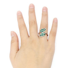 Hot New Fashion Cute Silver Ring Aneis Korean style Double Green Leaf Leaves Ring Exquisite Shiny Rings Flawless Ornaments Sets(China)